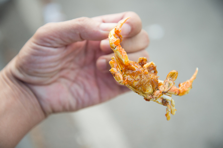 hand hold fried crab with sweat & hot sauce