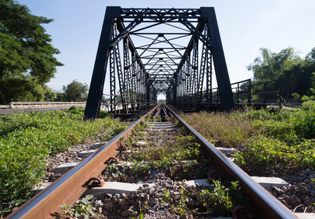 old rail way bridge with grass