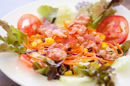 salad and bacon