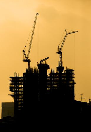 Building under construction silhouette