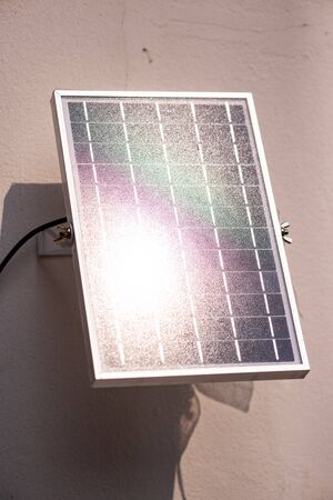small solar cells generate electricity from solar energy. Alternative energy concept. Clean energy. Produce electricity for household appliances.