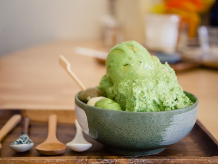 cream and green: Shaved ice with matcha and green tea ice cream