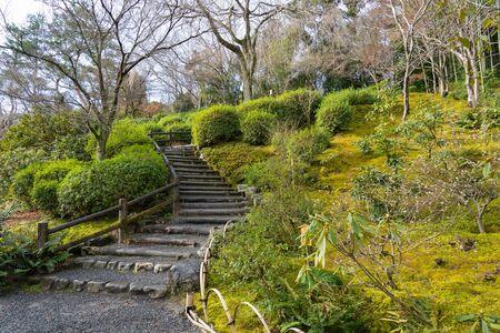 Zen garden of Tenryu-ji Temple, Arashiyama, Kyoto, Japan.