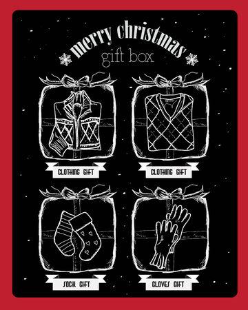 sackful: Christmas  gift box on snow