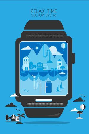 d data: smartwatch go to travel Illustration