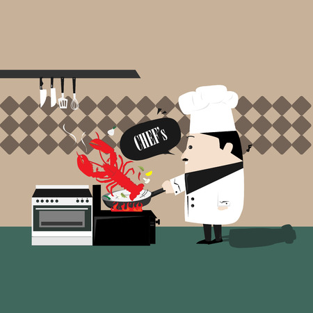 chef cooking shrimp Vector