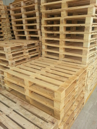 on the skids: Wooden pallets Stock Photo