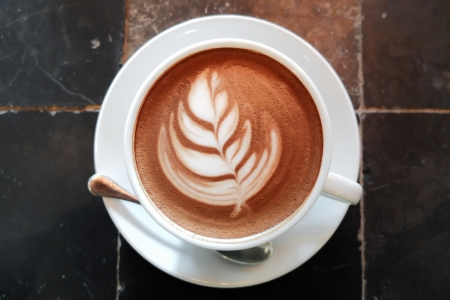 Caffe Mocha art with Tulip flower photo