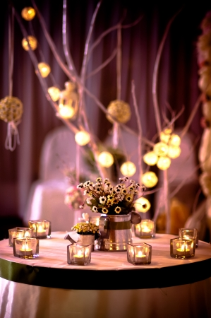 flower arrangement white table: The decoration in a wedding ceremony