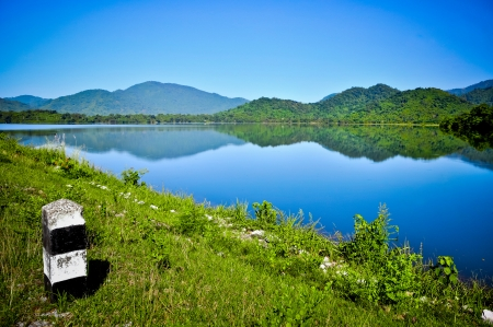 hydroelectricity: Landscape of reservoir and mountain in Nakhon Nayok, Thailand