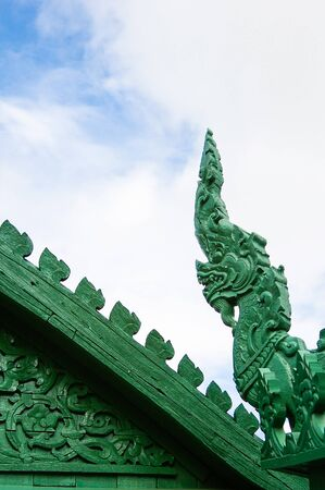 Traditional Thai style Green stucco on the roof