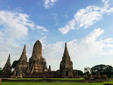 Ancient buddhist temple complex in Ayutthaya Historical Park.