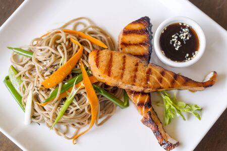 thai food: salmon spaghetti thai food