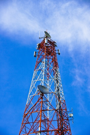 multi antenna communications tower with radio, cellphones, telephones microwave data links etc photo