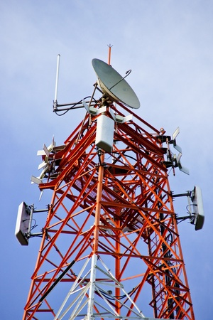 multi antenna communications tower with radio, cellphones, telephones microwave data links etc