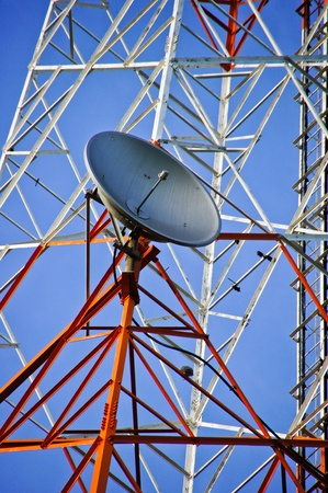 microwave antenna: multi antenna communications tower with radio, cellphones, telephones microwave data links etc