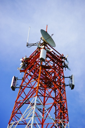 multi antenna communications tower with radio, cellphones, telephones microwave data links etc Stock Photo - 12639397