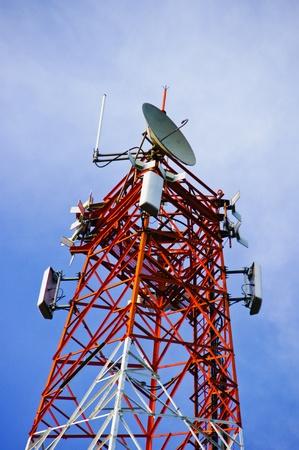 multi antenna communications tower with radio, cellphones, telephones microwave data links etc Stock Photo - 12639397