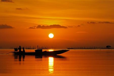 Sunset at Southern Lake Thailand  15-03-2012 Stock Photo - 12870433