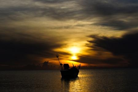 Sunset sky, At Songkhla Lake, Thailand Stock Photo - 12870456
