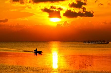 Sunset sky, At Songkhla Lake, Thailand  photo