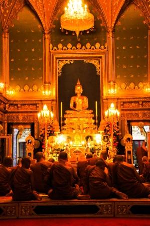 awakened: Golden Buddha in Buddhist temple