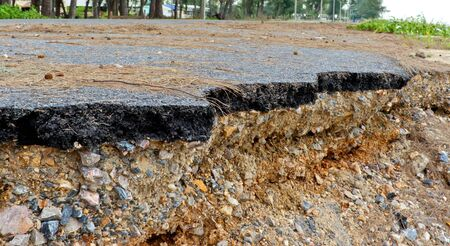 Road damage from sea erosion  photo