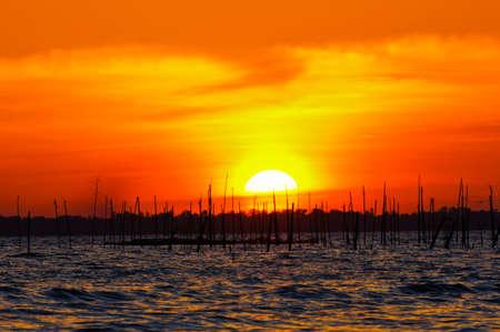 Sunset at Southern Lake Thailand. photo