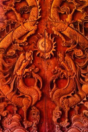 sculpt: Antique wooden door, Sculpt a Dragon God
