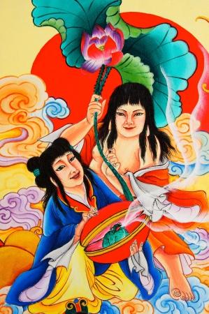 TRANG, THAILAND - AUG 4: Chinese style paintings at San Jao Mae Guan Yim (Guan Yim temple) on Aug 4, 2012 in Trang, Thailand. Stock Photo - 14700224