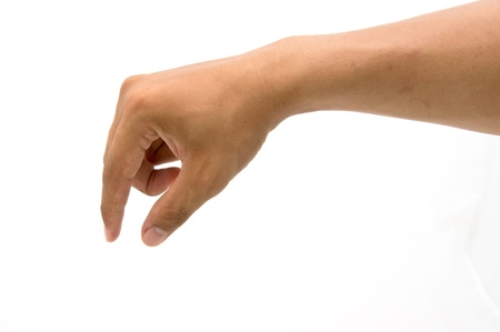 well shaped male hand and arm reaching for something isolated on white