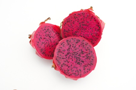Red dragon fruit or pitaya as slice. photo