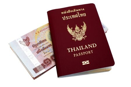 Thai passport and Thai money . photo