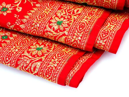 Red Thai woven fabrics. photo