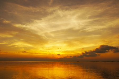 Sunset sky, The lake of Songkla, Thailand. photo
