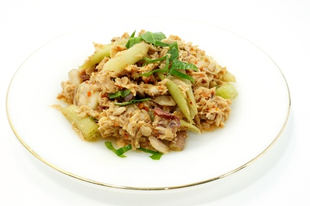 Thai dressed spicy salad with tuna and waterlily photo
