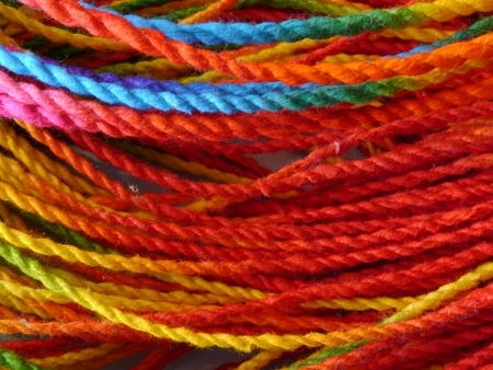 cordage: Colorful paper rope.