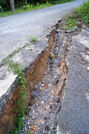 Stratigraphy of road damage caused by the earthquake. photo