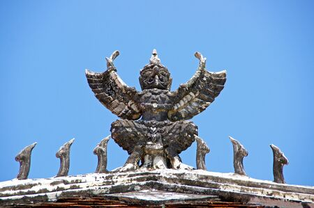 venerate: Garuda statue in the holy places of Buddhism.