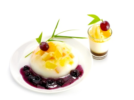 agar: Agar dessert with Fruit salad and Blueberries