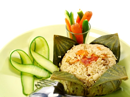 Fried rice wrapped in lotus leaf, Thai food. photo