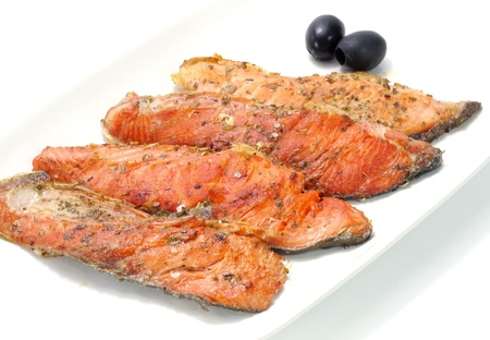 Salmon fried with spices  photo