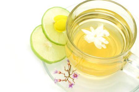 Flower tea mix honey and lemon.