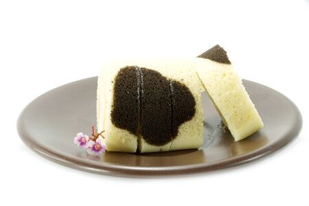 chocolate and milk swiss roll. photo