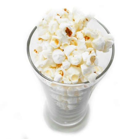 popcorn isolated on a whine background photo