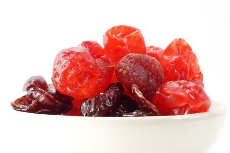 Dried mixed berries on isolate white background. photo