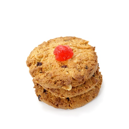 Oat cookies raisins with wholegrain oats no artificial flavors on a white background. photo