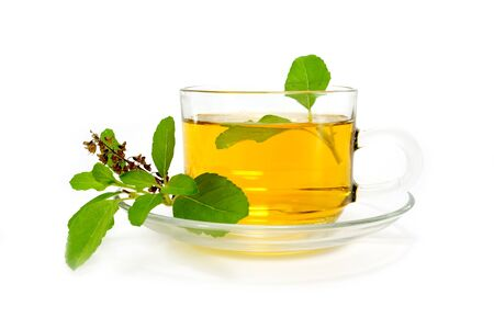Sweet basil tea mix honey on white background photo