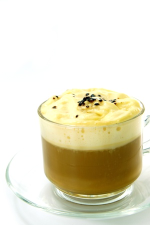 True Brazilian Arabica Coffee with whipped cream  photo