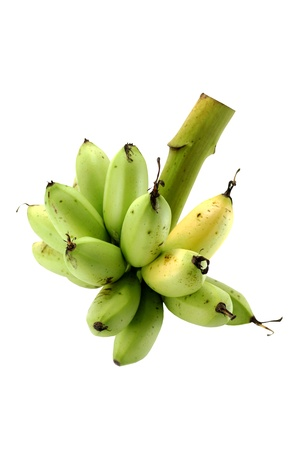 bunch of green and yellow bananas on white background photo